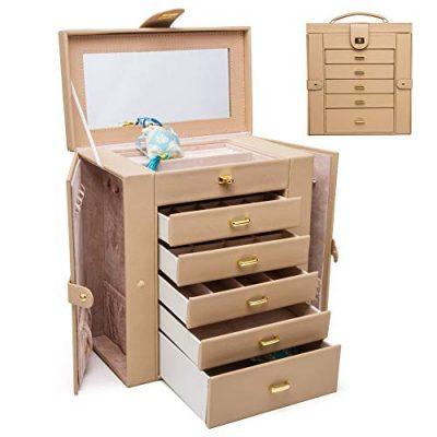 HEZALA Large Jewelry Organizer - 6 Layer - Protoplasm PU Leather Jewelry Box