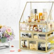 PENGKE X-Large Gold Makeup Organizers,Dust Proof Cosmetic and Jewelry Storage