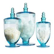HC Elegant Blue Set of 3 Glass Apothecary Jars with Lid