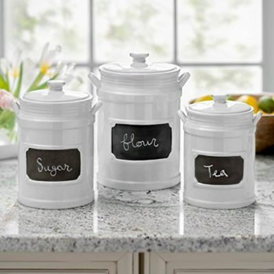Set of 3 Quality Porcelain Airtight Canister Set - Bathroom or Kitchen Containers