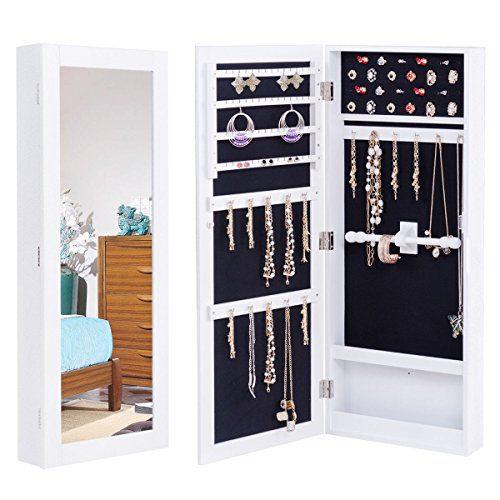 WATERJOY Mirror Jewelry Cabinet, Lockable Wall/Door ...