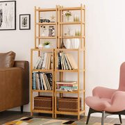 Homfa Bamboo Bathroom Shelf 7-Tier Tower Free Standing Storage Organizer Rack