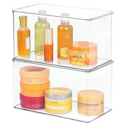 mDesign Stackable Bathroom Storage Bin Box with Lid