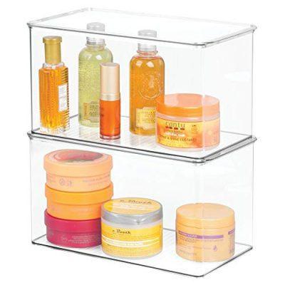 mDesign Stackable Bathroom Storage Bin Box with Lid