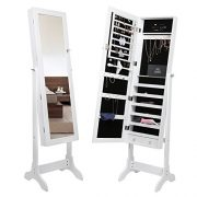 Amoiu Standing Jewelry Cabinet, Full Length Mirrored Jewelry Armoires