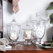 Whole Housewares Clear Glass Apothecary Jars-Cotton