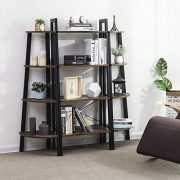 VASAGLE Industrial Ladder Shelf, 4-Tier Bookshelf, Storage Rack Shelves