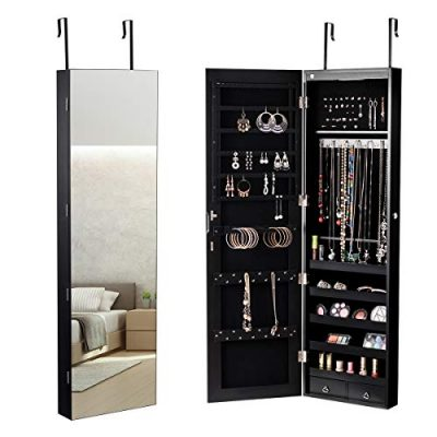 Giantex Wall Door Jewelry Armoire Cabinet with Mirror