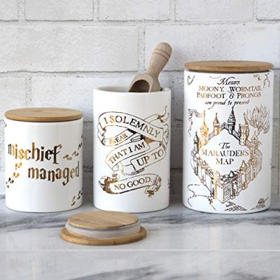 Harry Potter Marauder's Map Porcelain 3 Piece Canister Set