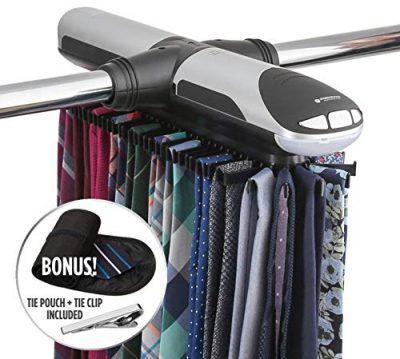 StorageMaid Motorized Tie Rack Organizer for Closet with LED Lights