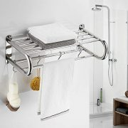 BESy Stainless Steel Towel Racks with Shelf, Adjustable Bathroom Shelf