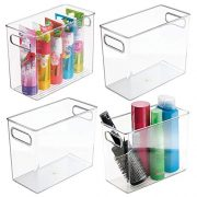 mDesign Slim Plastic Storage Container Bin with Handles