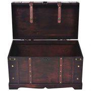 BLUECC Vintage Wood Treasure Chest Storage Trunk Brown