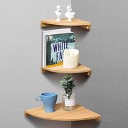 Yankario Corner Wall Shelf Set of 3, Solid Beech Wood Floating Shelves
