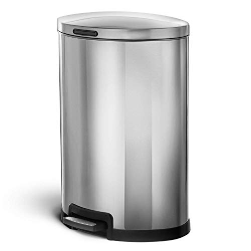 HomeZone VA41311A 45-Liter Stainless Steel Rectangular Step Trash Can 13 Gallon