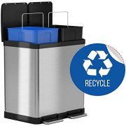 iTouchless 16 Gallon Dual Step Trash Can & Recycle In- In-Home Recycling Bins