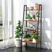 LANGRIA Industrial Ladder Shelf 4-Tire Vintage Bookcase