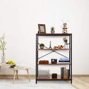 Papafix Standing Shelf Unit Wood Metal Open Storage Shleves