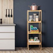 Bamboo Bathroom Shelf Stand, 4-Tier Storage Rack Shelving Unit