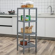 SONGMICS 100% Bamboo Bathroom Shelf Stand Rack