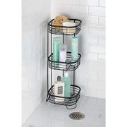 mDesign Square Metal Bathroom Shelf Unit - Free Standing Vertical Storage