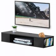 FITUEYES Black Wall Mounted Media Console Floating TV