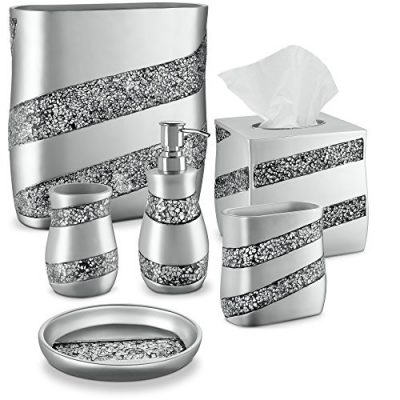 DWELLZA Silver Mosaic Bathroom Accessories Set