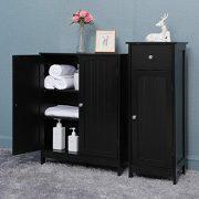 Iwell Bathroom Floor Storage Cabinet with 2 Adjustable Shelf