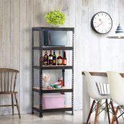 Yaheetech Black Adjustable 5-Shelf Shelving Unit Storage Rack Utility