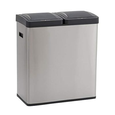Design Trend Stainless Steel Dual Compartment Sensor Trash Can Recycler
