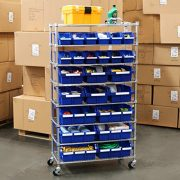Seville Classics Commercial 8-Tier UltraZinc/Blue NSF 24-Bin Rack Storage