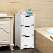 Tangkula Floor Cabinet, 3 Drawers Wooden Storage Cabinet