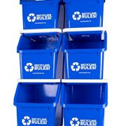 6 Pack of Bins - Blue Stackable Recycling Bin Container