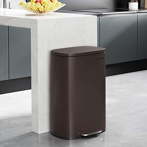 songmics 13.2 gal (50l) kitchen trash can, pedal garbage