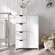 VASAGLE Bathroom Storage Cabinet, Floor with Adjustable Shelf and Drawers