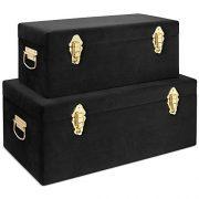 Beautify Black Velvet Decorative Storage Trunk Set with Brass Clasps
