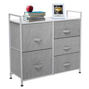 KingSo Fabric 5 Drawer Dresser Storage Tower Organizer Unit