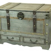 Rustic Gray Large Wooden Storage Trunk Coffee Table