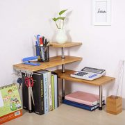 Olive Desktop Organizer Office Kitchen Corner Shelf Unit Adjustable Bamboo
