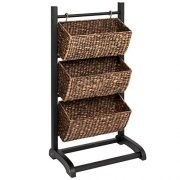 Best Choice Products 3-Tier Water Hyacinth Floor Rack Stand Organizer