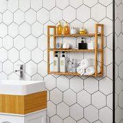 SONGMICS bamboo bathroom shelves, 3-Tier Adjustable Layer Rack