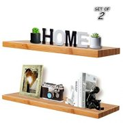 Floating Wall Shelves,Natural Bamboo,Corner Shelves,Display Ledge Shelf