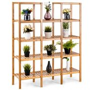 COSTWAY Bamboo Utility Shelf Bathroom Rack Plant Display Stand
