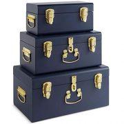 Beautify Set of 3 Navy Blue Vintage Metal Steel Storage Trunk Set