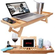 Bamboo Bathtub Tray & Bed Laptop Desk with Foldable Legs