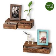 Emfogo Floating Shelf with Drawer Rustic Wood Wall Shelves for Storage