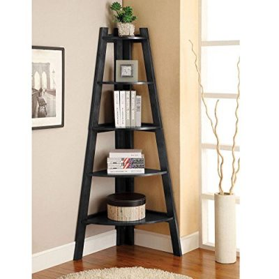 Prountet 5 Shelves Corner Shelf Stand Wood Display Storage Home Furniture