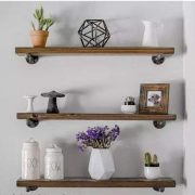 3 Rustic Floating Shelves Industrial Wood Shelves Wall Storage