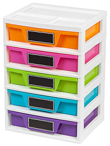 IRIS USA, Inc. 5 Drawer Storage & Organizer Chest, Assorted Colors