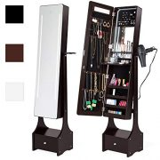 Best Choice Products Full Length LED Mirrored Jewelry Storage Organizer Cabinet